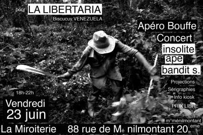 Concert de soutien à La Libertaria  le 23 juin à Paris/Toque en apoyo a  La Libertaria en Paris el 23 de Junio
